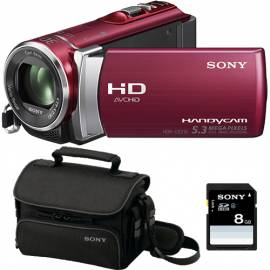 Camera video Sony Handycam HDR-CX 210E, FullHD, Red + Card 8GB, Geanta